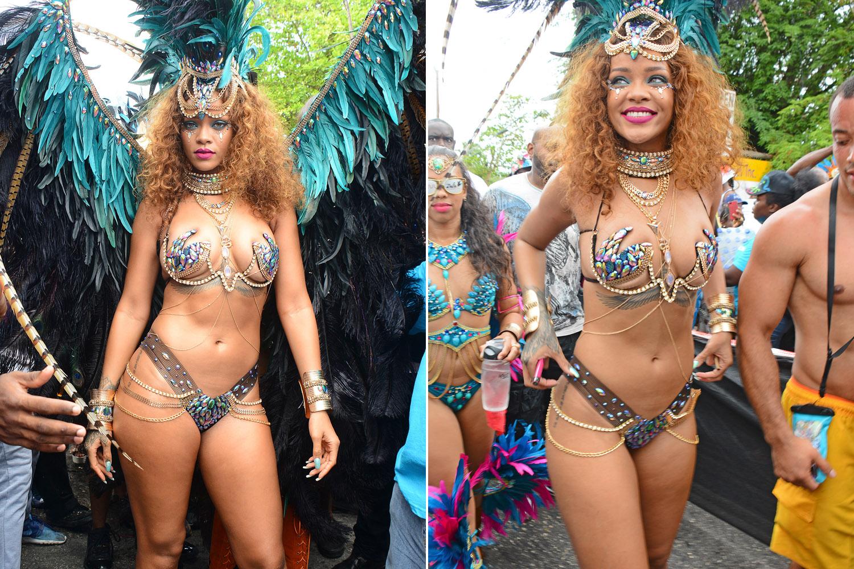 ФОТОГАЛЕРИЈА: Ријана речиси гола на карневалот во Барбадос