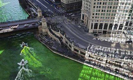ТРАДИЦИЈА ВО ЧИКАГО: На Денот на Свети Патрик реката се бои во зелена боја (ВИДЕО)