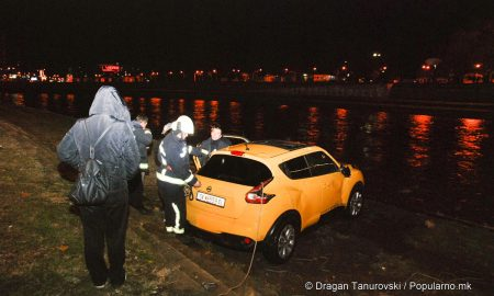 Автомобил пловеше во Вардар, пожарникарите го извлекоа кај МНР (ФОТОГАЛЕРИЈА)
